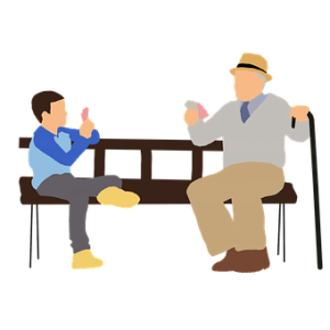 grandfather and grandchild on bench
